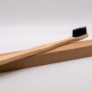 Bambusz fogkefe - fekete medium